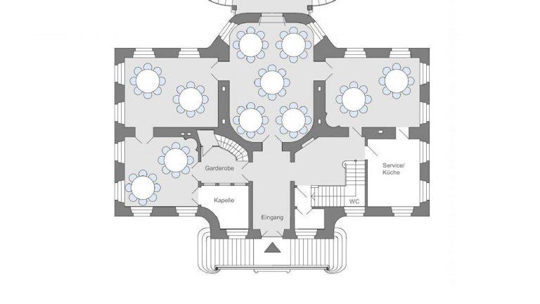 Bestuhlung der Festsäle für Feiern und Events auf Schloss Arff